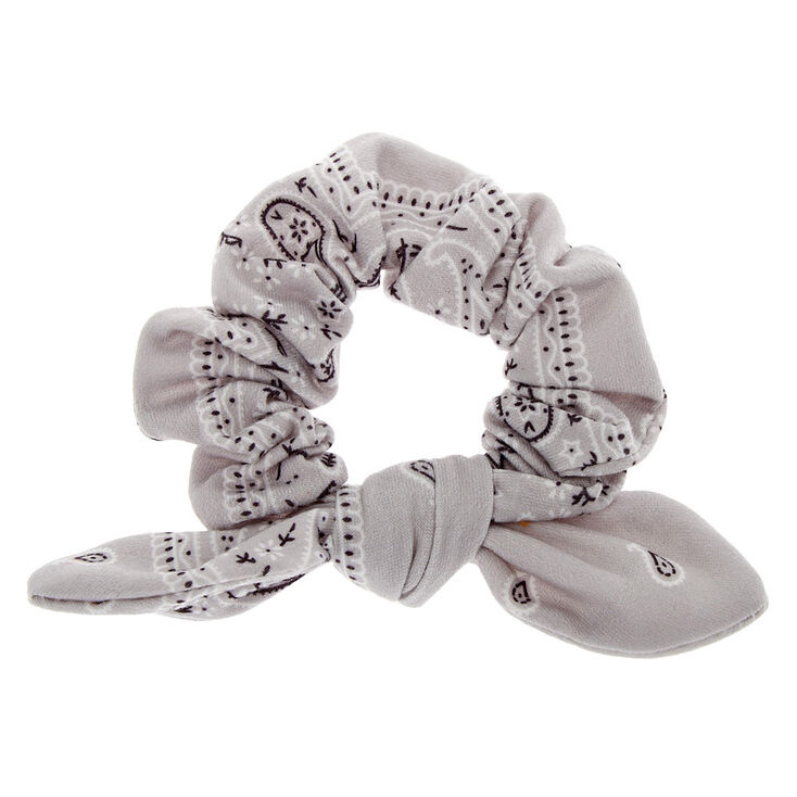 Bandana Knotted Bow Hair Scrunchie - Light Gray,
