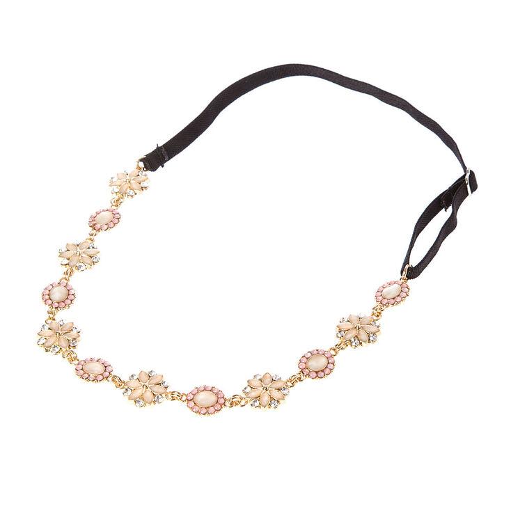 Pink Stone Flowers & Ovals Headwrap,