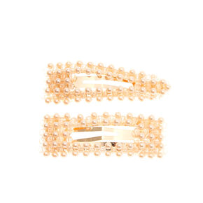 Rose Gold Pearl Mixed Snap Clips - 2 Pack,