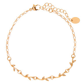 Gold Crystal Leaf Chain Anklet,