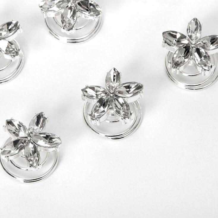 Silver Rhinestone Fancy Flower Hair Spinners - 6 Pack,
