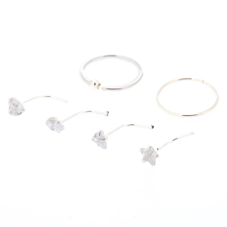 Sterling Silver Cubic Zirconia Mixed Nose Studs + Hoops Set - 6 Pack,