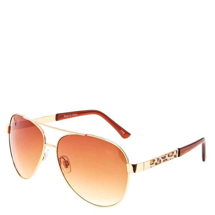 Rose Gold & Leopard Print Aviator Sunglasses,