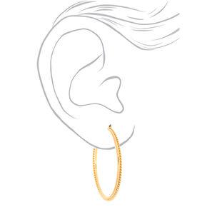 Gold 60MM Twisted Hoop Earrings,