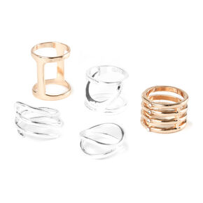 Mixed Metal Wide Band Rings - 5 Pack,