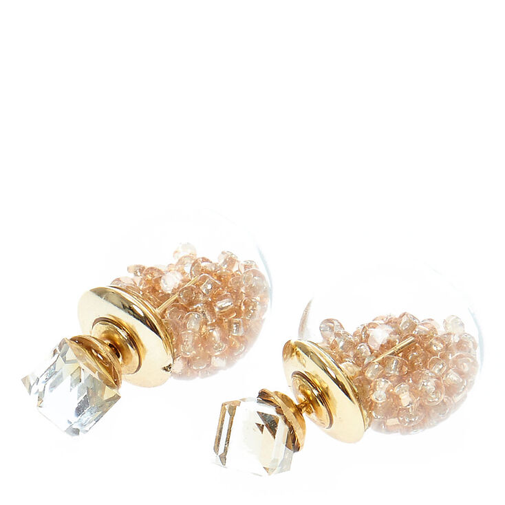 Tinted Gold Cube & Shaker Bead Front & Back Earrings,