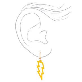 """Gold 1"""" Rubber Lightning Bolt Drop Earrings - Yellow,"""