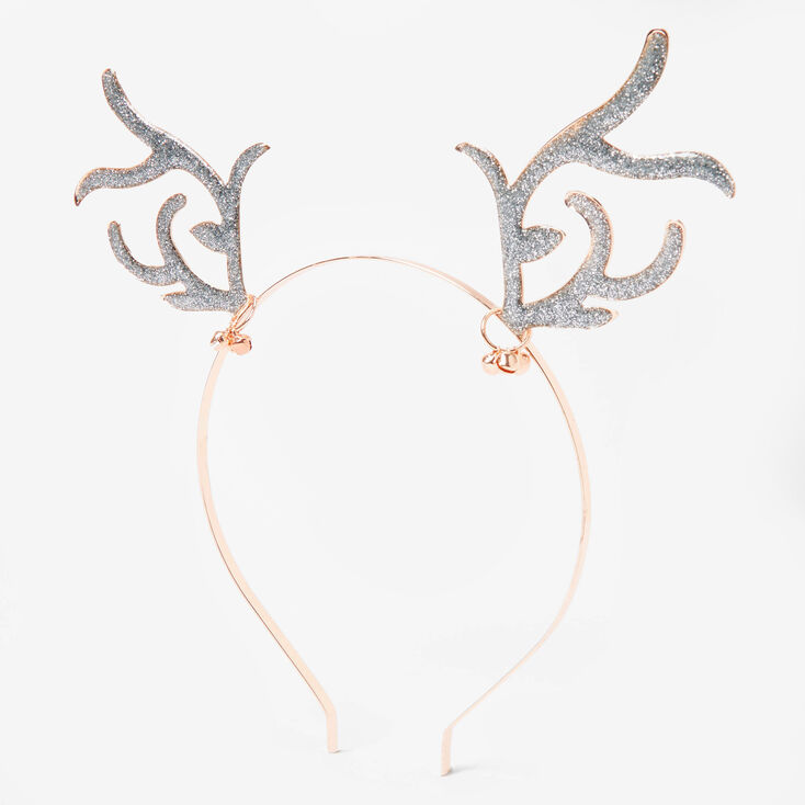 Rose Gold Glitter Antler Ears Headband,