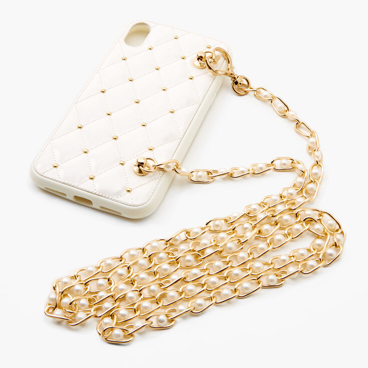 White Quilted Phone Case with Gold Chain - Fits iPhone XR,