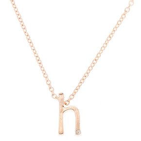 Rose Gold Cursive Initial Pendant Necklace - H,