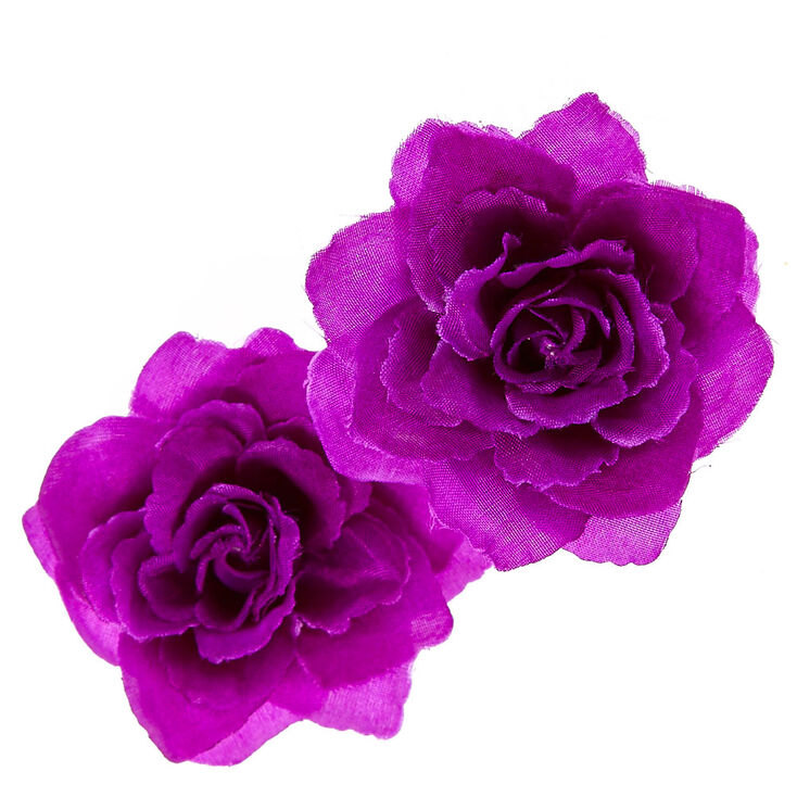 2 Pack Purple Shabby Rose Hair Clips,