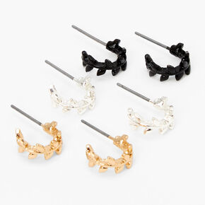 Mixed Metal Leaf Hoop Earrings - 3 Pack,