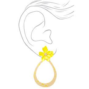 """Gold 2"""" Teardrop Flower Drop Earrings - Yellow,"""