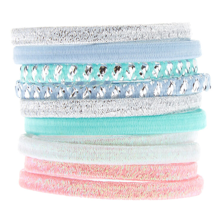 Pastel Holographic Glitter Hair Ties 10 Pack,