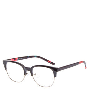 Retro Rose Black Half Rim Frames,