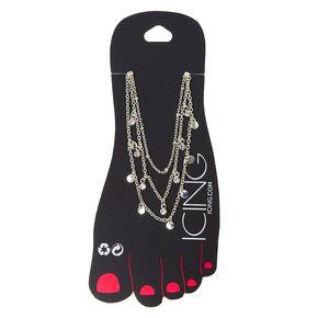Silver Belly Dancer Multi Strand Chain Anklet,