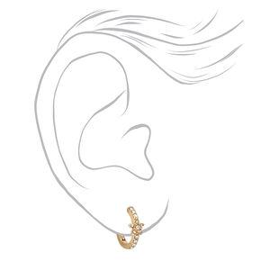 Gold 10MM Crystal Star Huggie Hoop Earrings,