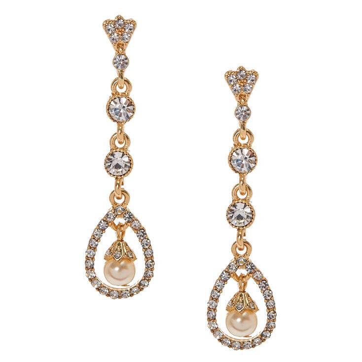 Gold Tone & Crystal Open Teardrop with Faux Pearl Linear Drop Earrings,