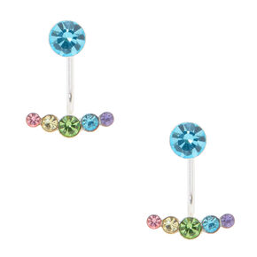 Sterling Silver Front & Back Pastel Imitation Crystal Earrings,