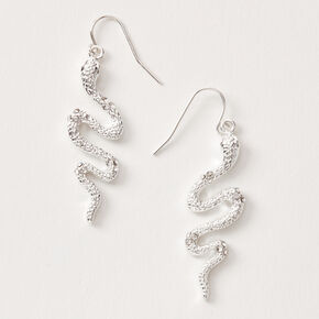 "Silver 1.5"" Embellished Snake Drop Earrings,"