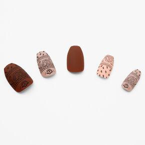 Nude Bandana Print Coffin Faux Nail Set - 24 Pack,