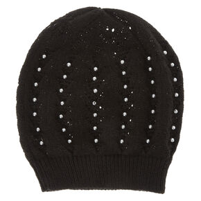Black Beanie with Pearls,