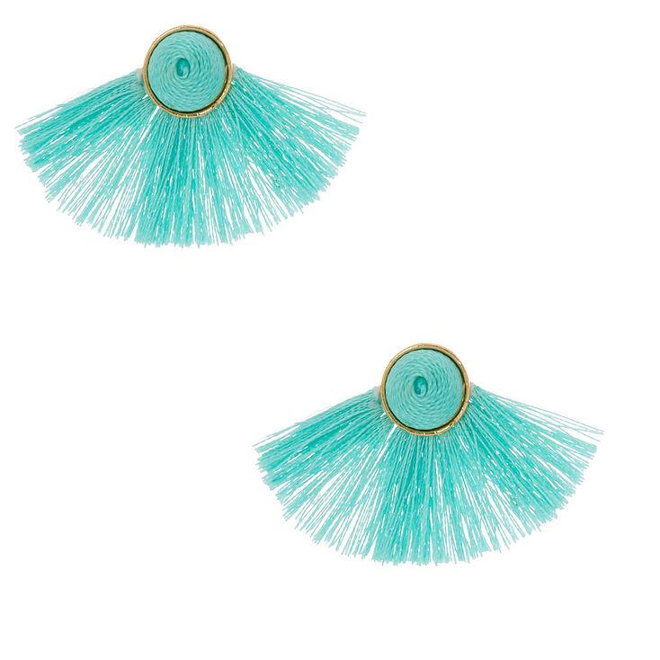 Tassel Fan Stud Earrings - Mint,