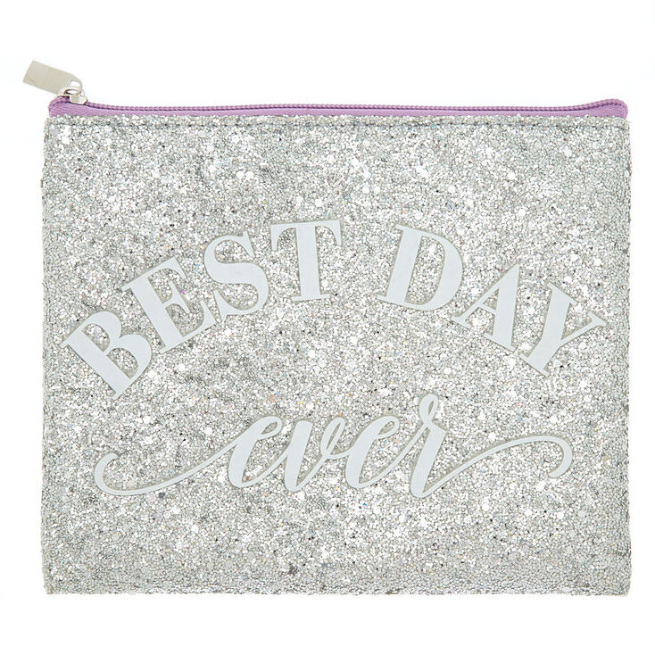Best Day Ever Glitter Cosmetics Pouch - Silver,