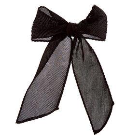Pleated Chiffon Hair Bow Clip - Black,