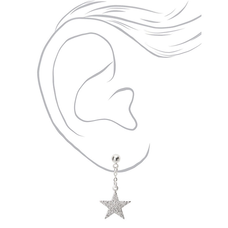 "Silver 1"" Sandblast Star Drop Earrings,"