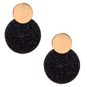 Gold Glitter Disc Drop Earrings - Black,