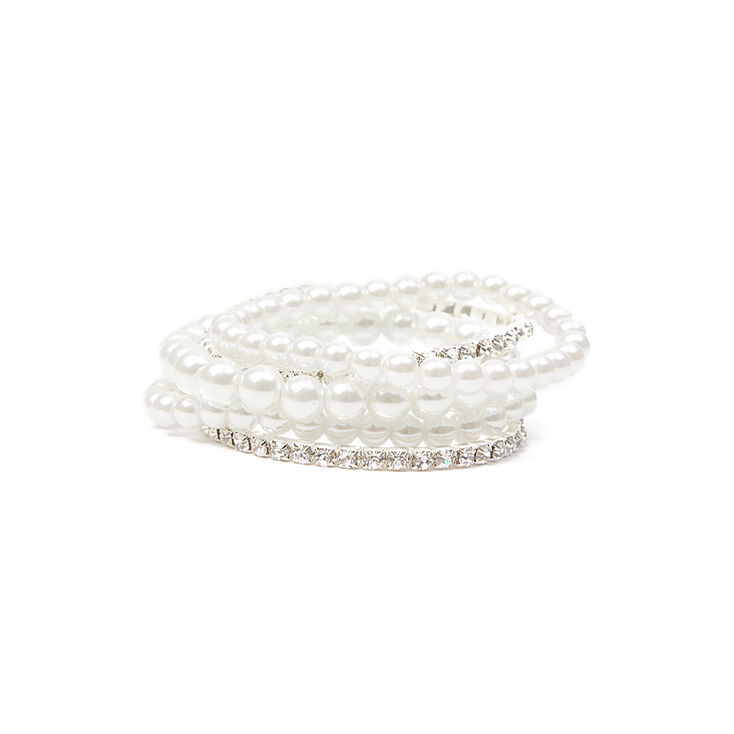 Pearl & Rhinestone Stretch Bracelets Set of 5,