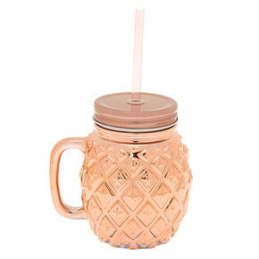 Pineapple Mason Jar Cup - Rose Gold,