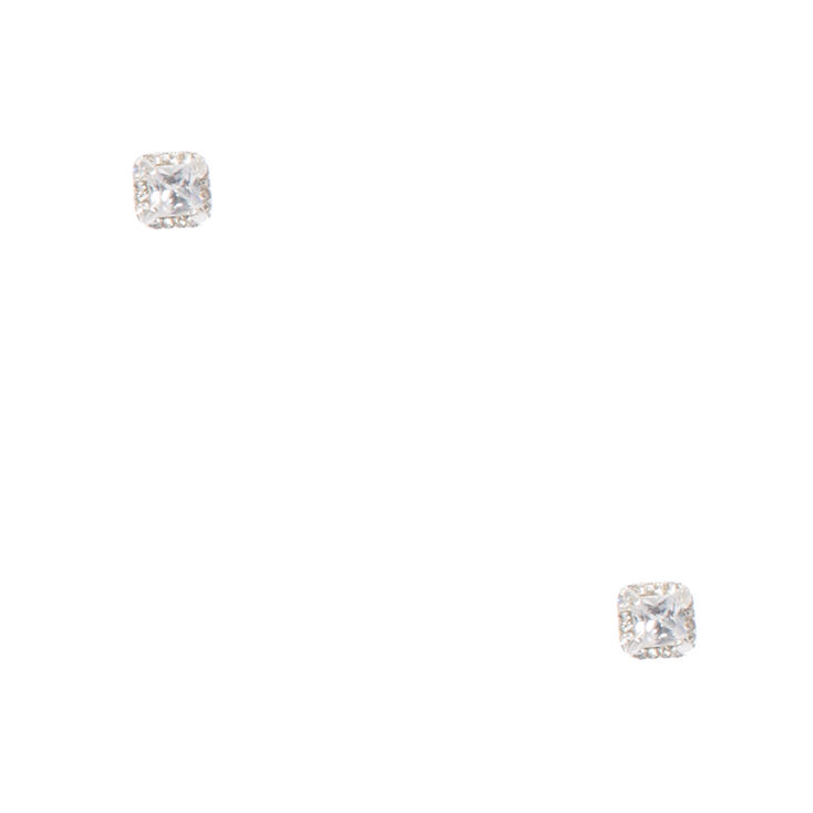 Crystal Framed Square Clear Crystal Stud Earrings,