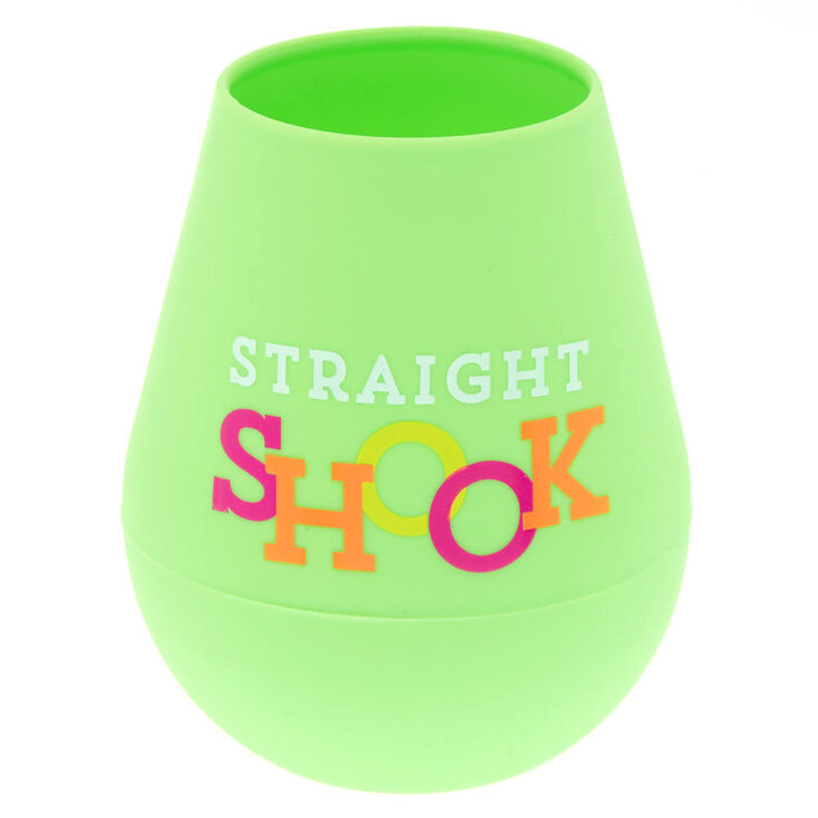 """Green """"Straight Shook"""" Silicone Wine Glass,"""
