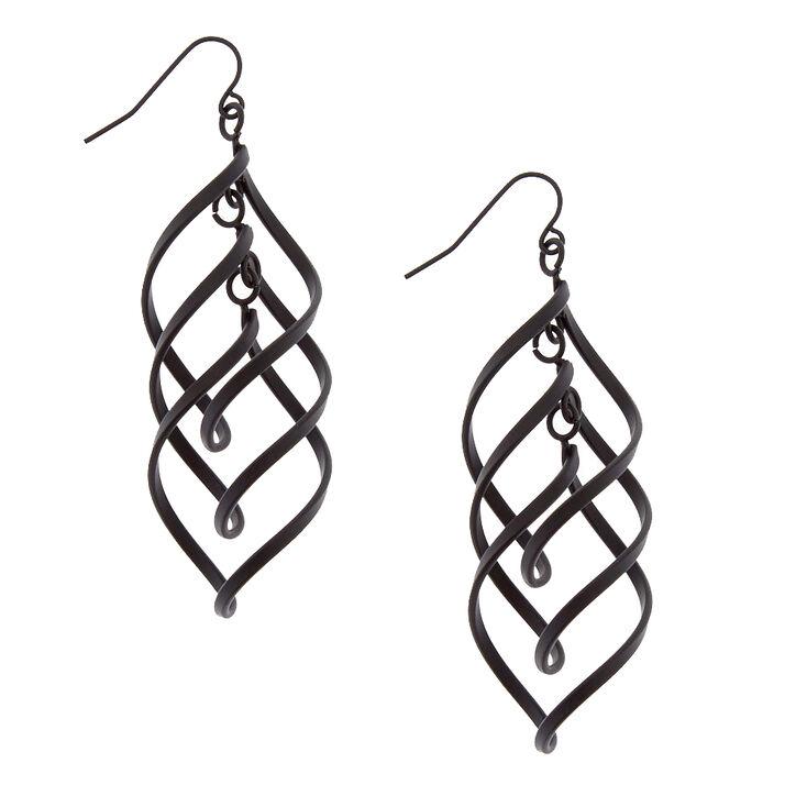 Black Spiral Drop Earrings,