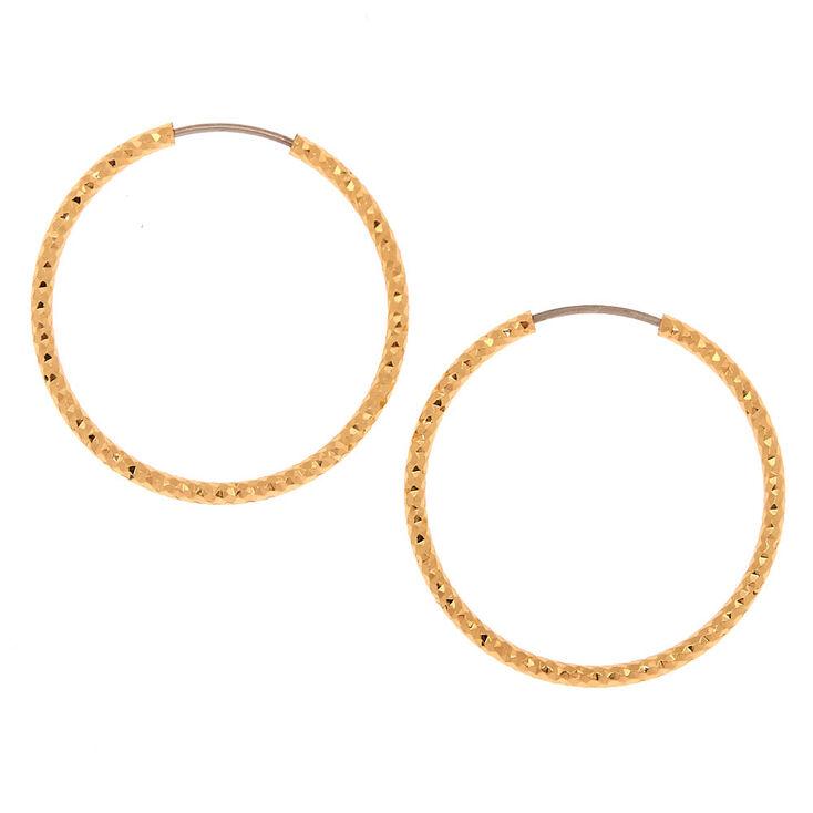Gold 25MM Textured Hoop Earrings,