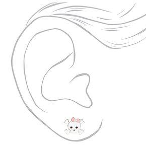 Sterling Silver Pink Bow Skull and Crossbones Stud Earrings,