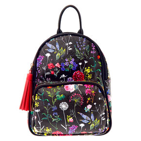Botanical Floral Mini Backpack - Black,