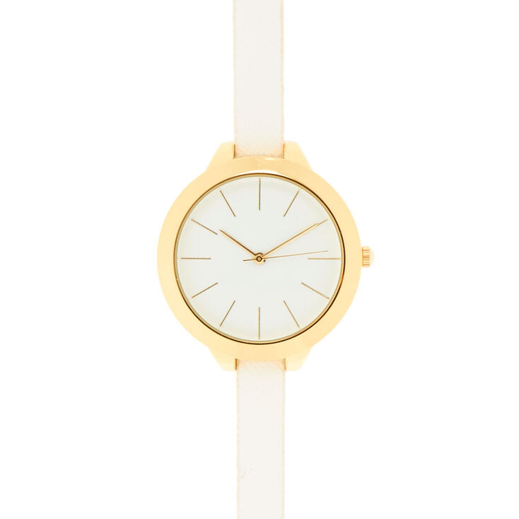 White & Gold Faux Leather Wristwatch,