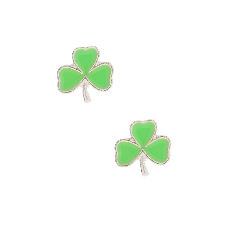 Silver Shamrock Stud Earrings - Green,