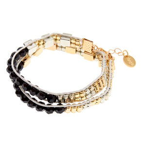 Mixed Metal Beaded Statement Bracelet - Black,