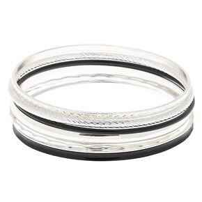 Hammered Silver Bangle Bracelets - Black, 6 Pack,