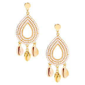 "Gold 3"" Seashell Drop Earrings,"