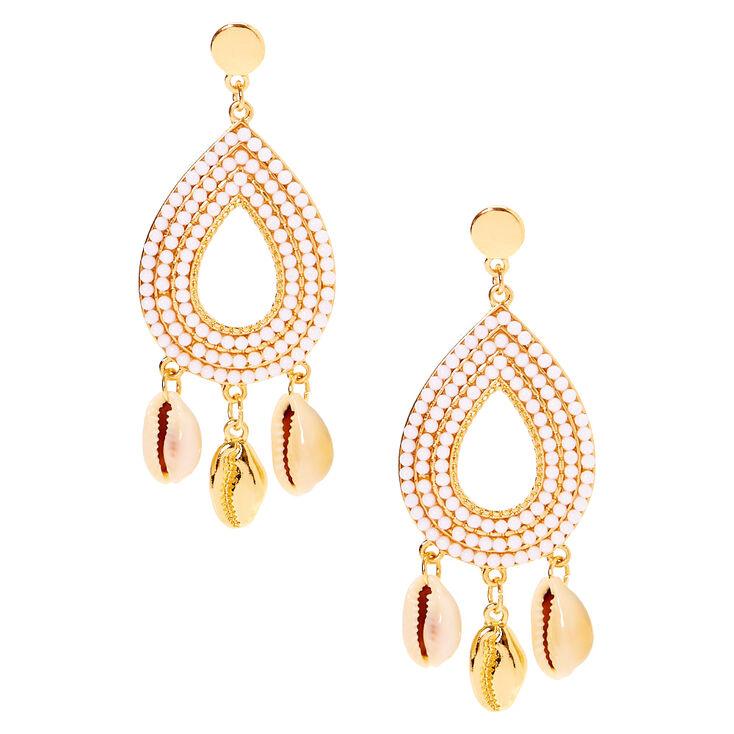 """Gold 3"""" Seashell Drop Earrings,"""