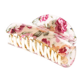 Pink Floral Print Claw Clip,