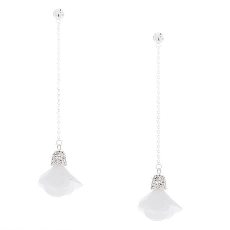 """Silver 3"""" Linear Flower Drop Earrings - White,"""
