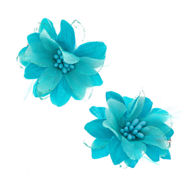 Blue Lily with Feathers Flower Hair Clips,