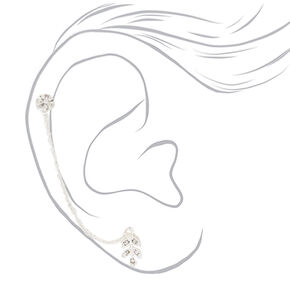 Silver Leaf Ear Swag Earrings - 3 Pack,