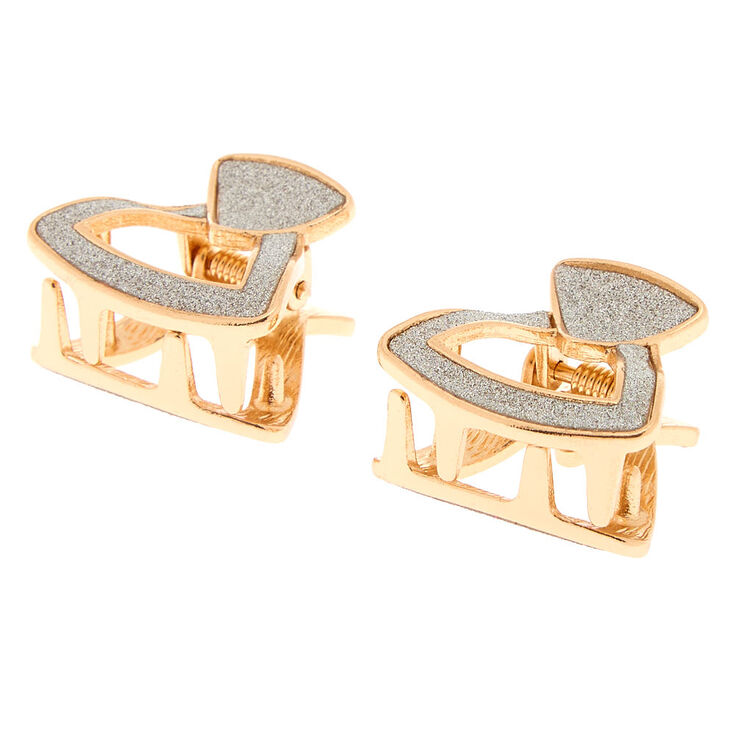 Geometric Glitter Hair Claws - Gold, 2 pack,